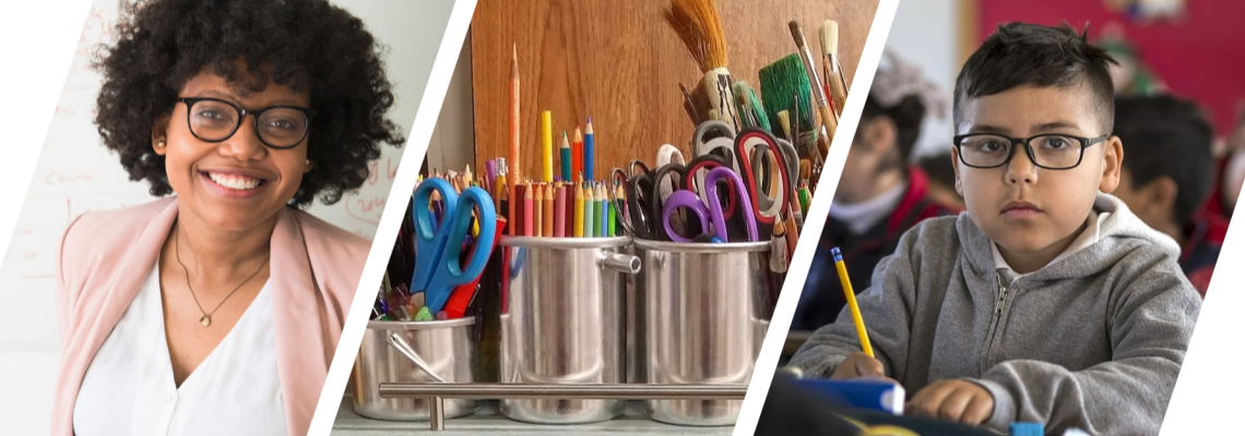 composite image of teacher, art supplies, and young learner at desk