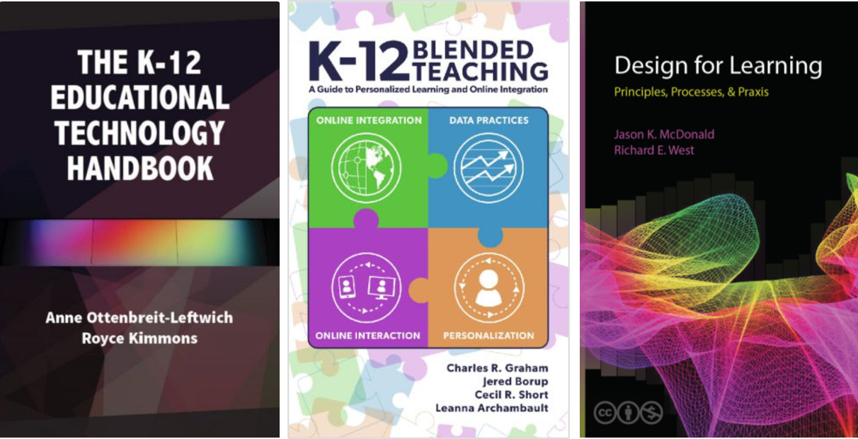 covers of three books from edtechbooks.org